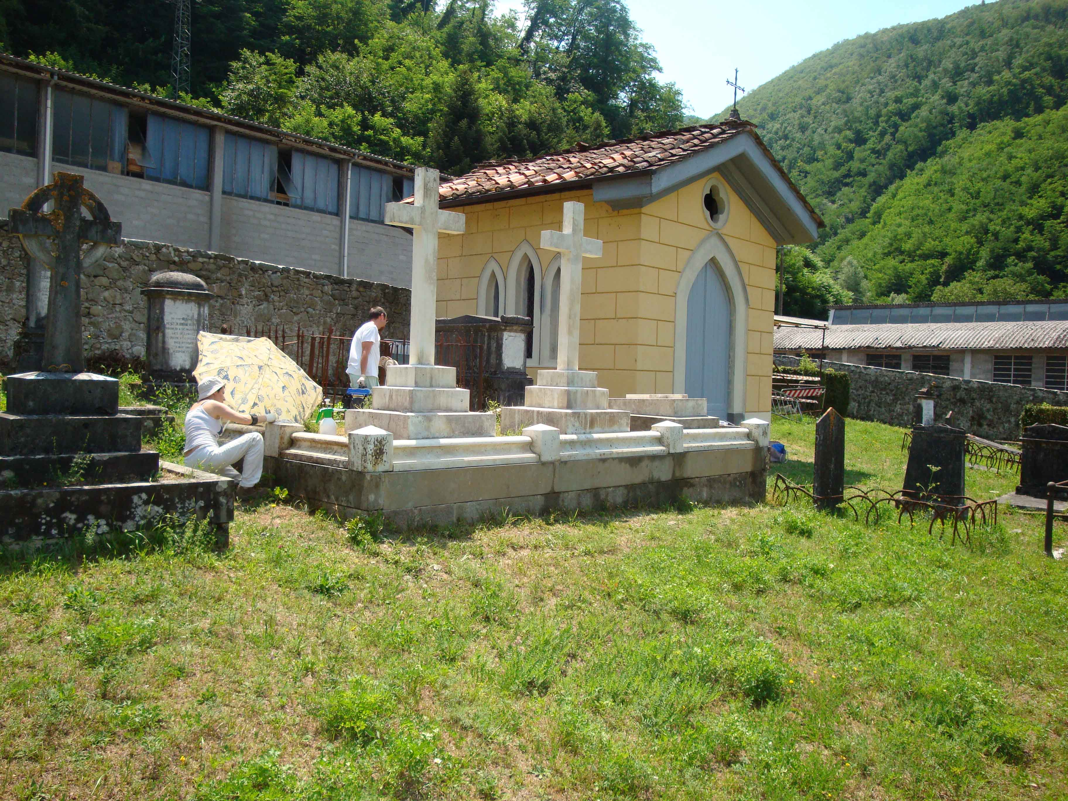 Restoration work at the English Cemetery, Bagni di Lucca, Italy